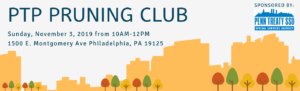 City Skyline cutout shapes with trees - Pruning Club announcement
